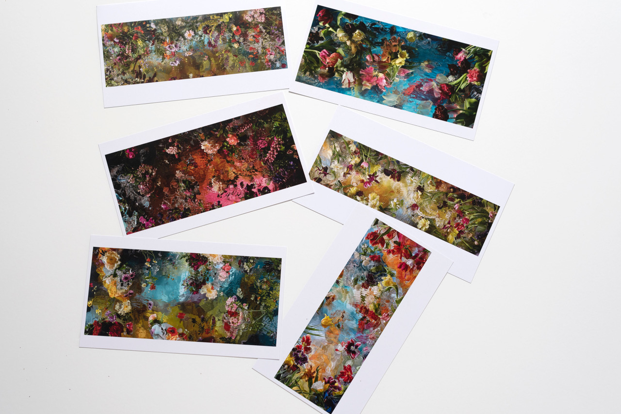 6 postcards 12 x 21 cm € 11,20  This set-price includes shipping within the Netherlands.  Outside NL:  € 12,10